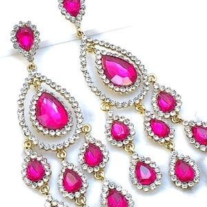 Fuchsia Pink Crystal Rhinestone Event Earrings